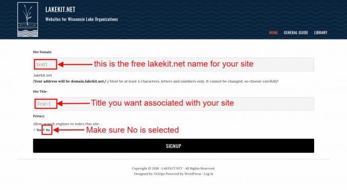 signup lakekit net 3 site info